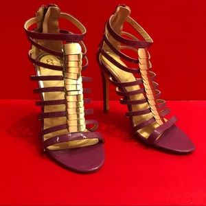 Shoedazzle Gold & Purple Cage Heels